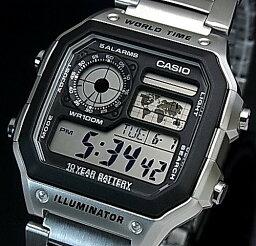 CASIO/Standard數碼世界地圖表示世界時間人手錶金屬皮帶海外型號AE-1200WHD-1A
