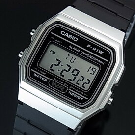 CASIO/Standard【カシオ/スタンダード】アラームクロノグラフ メンズ腕時計 ボーイズサイズ 軽量・薄型のデジタル液晶モデル シルバーケース ブラックラバーベルト 海外モデル【並行輸入品】F-91WM-7A