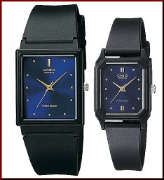 CASIO/Standard模擬石英一對表手錶橡膠皮帶深藍/黄金表盤海外型號MQ-38-2A/LQ-142E-2A