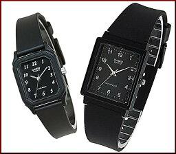 CASIO/Standard模擬石英一對表手錶橡膠皮帶黑色表盤海外型號MQ-27-1B/LQ-142-1B