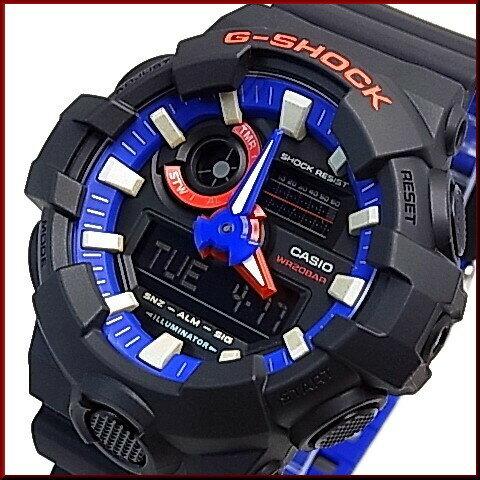 CASIO/G-SHOCK【カシオ/Gショック】アナデジ メンズ腕時計 ブラック/トリコロール カラー(国内正規品)GA-700LT-1AJF