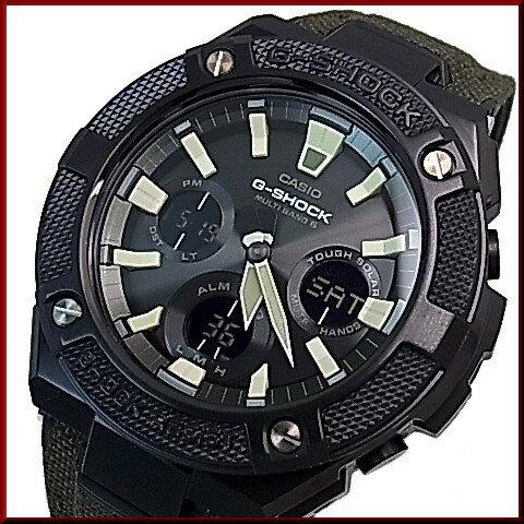 CASIO/G-SHOCK【カシオ/Gショック】G-STEEL/Gスチール ソーラー電波腕時計 メンズ ブラック文字盤 モスグリーンクロス&タフレザーベルト(国内正規品)GST-W130BC-1A3JF