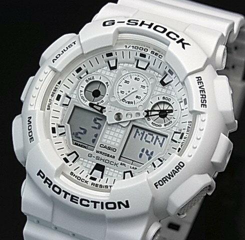CASIO/G-SHOCK【カシオ/Gショック】アナデジモデル メンズ腕時計 Marine White/マリンホワイト(国内正規品)GA-100MW-7AJF