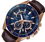 CASIO/EDIFICE【カシオ/エディフィス】クロノグラフメンズ腕時計ピンクゴールドケースネイビー文字盤ブラウンレザーベルト海外モデル【並行輸入品】EFR-552GL-2AV