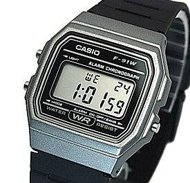 CASIO/Standard【カシオ/スタンダード】アラームクロノグラフ メンズ腕時計 ボーイズサイズ 軽量・薄型のデジタル液晶モデル グレーケース ブラックラバーベルト 海外モデル【並行輸入品】F-91WM-1B