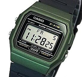 CASIO/Standard【カシオ/スタンダード】アラームクロノグラフ メンズ腕時計 ボーイズサイズ 軽量・薄型のデジタル液晶モデル ダークグリーンケース ブラックラバーベルト 海外モデル【並行輸入品】F-91WM-3A