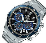 CASIO/EDIFICE【カシオ/エディフィス】ソーラー腕時計クロノグラフメンズブラック(カーボンファイバー)/ブルー文字盤メタルベルト海外モデル【並行輸入品】EQS-800CDB-1BV