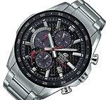 CASIO/EDIFICE【カシオ/エディフィス】ソーラー腕時計クロノグラフメンズブラックベゼルカーボンファイバー文字盤メタルベルト海外モデル【並行輸入品】EQS-900DB-1AV