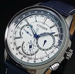CITIZEN/環保開車兜風人太陽能手錶多功能白表盤深藍皮革皮帶海外型號BU2020-11A