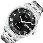 CITIZEN/Automatic【シチズン/オートマチック】自動巻メンズ腕時計ブラック文字盤メタルベルト海外モデル【並行輸入品】NH8360-80E