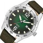 CITIZEN/Standard【シチズン/スタンダード】メンズ腕時計グリーングラデーション文字盤モスグリーンキャンバスレザーベルト海外モデル【並行輸入品】BI1041-06X