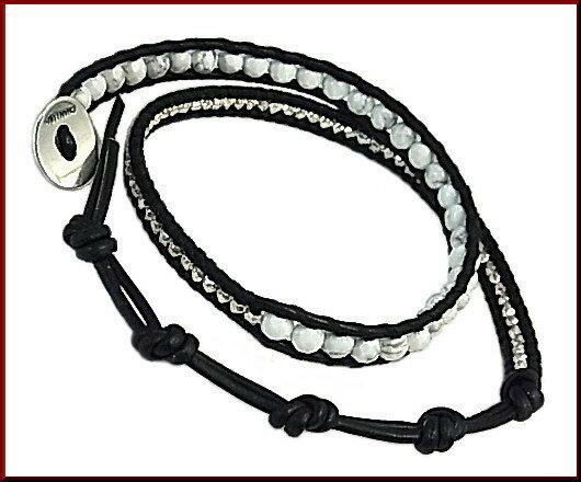 CHAN LUU/accessory【チャンルー/アクセ】ホワイトハウライト 2連ブレスレット ブラックレザー【送料無料】BS5253CLJ(国内正規品)WHITE HOWLITE-NATURAL BLACK