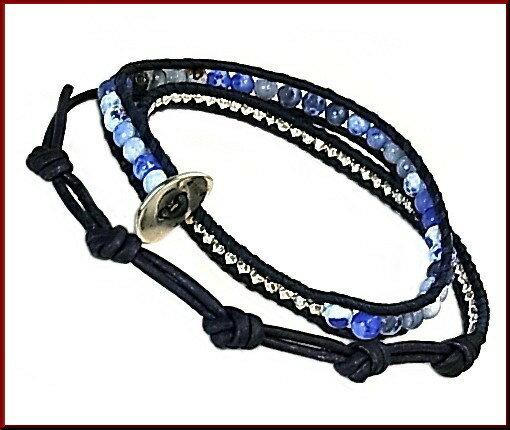 CHAN LUU/accessory【チャンルー/アクセ】ブルーファイアアゲート 2連ブレスレット ネイビーレザー【送料無料】BS5253CLJ(国内正規品)BLUE FIRE AGATE SPECIAL01