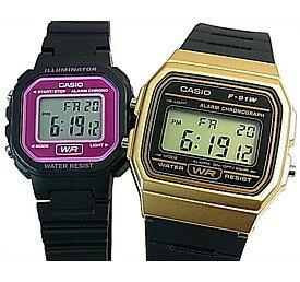 CASIO/Standard【カシオ/スタンダード】アラームクロノグラフ ペアウォッチ 腕時計 デジタル液晶モデル ブラックラバーベルト 海外モデル【並行輸入品】F-91WM-9A/LA-20WH-4A