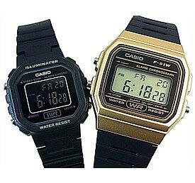 CASIO/Standard【カシオ/スタンダード】アラームクロノグラフ ペアウォッチ 腕時計 デジタル液晶モデル ブラックラバーベルト 海外モデル【並行輸入品】F-91WM-9A/LA-20WH-1B
