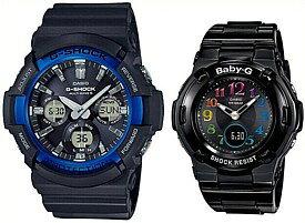 CASIO/G-SHOCK/Baby-G【カシオ/Gショック/ベビーG】ペアウォッチ ソーラー電波腕時計 ブラック (国内正規品)GAW-100B-1A2JF/BGA-1110GR-1BJF
