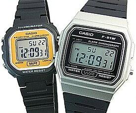 CASIO/Standard【カシオ/スタンダード】アラームクロノグラフ ペアウォッチ 腕時計 デジタル液晶モデル ブラックラバーベルト 海外モデル【並行輸入品】F-91WM-7A/LA-20WH-9A