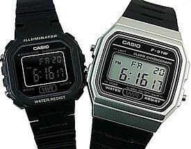 CASIO/Standard【カシオ/スタンダード】アラームクロノグラフ ペアウォッチ 腕時計 デジタル液晶モデル ブラックラバーベルト 海外モデル【並行輸入品】F-91WM-7A/LA-20WH-1B