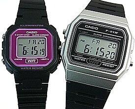 CASIO/Standard【カシオ/スタンダード】アラームクロノグラフ ペアウォッチ 腕時計 デジタル液晶モデル ブラックラバーベルト 海外モデル【並行輸入品】F-91WM-7A/LA-20WH-4A