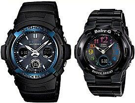 CASIO/G-SHOCK/Baby-G【カシオ/Gショック/ベビーG】ペアウォッチ ソーラー電波腕時計 ブラック (国内正規品)AWG-M100A-1AJF/BGA-1110GR-1BJF