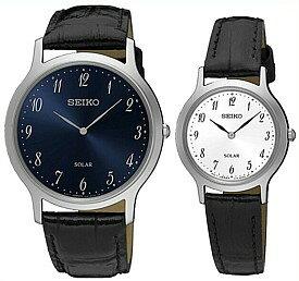 SEIKO/ソーラー時計【セイコー】ペアウォッチ 腕時計 ブラックレザーベルト ネイビー/ホワイト文字盤 海外モデル【並行輸入品】 SUP861P1/SUP369P1