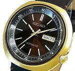 SEIKO/Automatic【セイコー/オートマチック】自動巻メンズ腕時計ゴールドケースブラウンレザーベルトブラウン文字盤海外モデル【並行輸入品】SRPC16J1