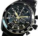 SEIKO/Sportura【セイコー/スポーチュラ】メンズ腕時計 アラームクロノグラフ ブラック文字盤 ブラックメタルベルト SNAF34P1 海外モデル【並行輸入品】