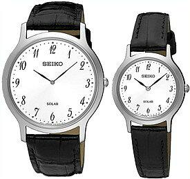 SEIKO/ソーラー時計【セイコー】ペアウォッチ 腕時計 ブラックレザーベルト ホワイト文字盤 海外モデル【並行輸入品】 SUP863P1/SUP369P1