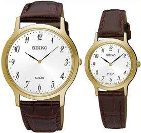 SEIKO/ソーラー時計【セイコー】ペアウォッチ 腕時計 ゴールドケース ブラウンレザーベルト ホワイト文字盤 海外モデル【並行輸入品】 SUP860P1/SUP370P1