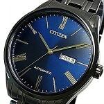 CITIZEN/Automatic【シチズン/オートマチック】自動巻メンズ腕時計ネイビー/ゴールド文字盤ブラックメタルベルト海外モデル【並行輸入品】NH8365-86M