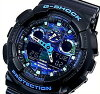 CASIO/G-SHOCK アナデジメンズ watch blue camouflage / black foreign countries model GA-100CB-1A