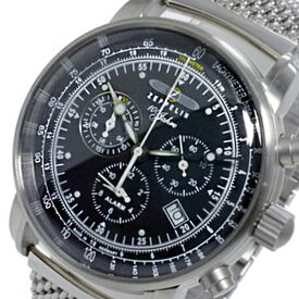 ツェッペリン ZEPPELIN 100周年 クオーツ メンズ クロノ 腕時計 7680M-2 ブラック