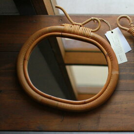 アップル型ミラー 籐 ラタン ミラー 壁掛け鏡