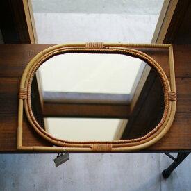 リーフ型ミラー 籐 ラタン ミラー 壁掛け鏡