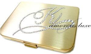 名刺入れ・カードケース『◆*AMOROUS Grace*◆』イニシャル「K」(アルファベット:K(ケー))イニシャルデザインスワロフスキークリスタル仕様名刺入れ レディース 女性(ゴールド台)