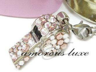 """吹口哨吹口哨錶帶錶帶 ◆ ◆""""草莓香檳""""(一個銀) 施華洛世奇水晶安全、 災難和緊急求助 ! 甚至與實際的金鑰 OK ♪ 請聯繫量身定做 !"""