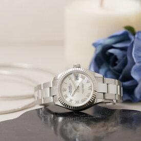 ロレックス デイトジャスト28 279174 シルバーローマ オイスターブレス ROLEX 中古レディース 腕時計 送料無料