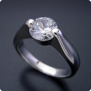【婚約指輪】1カラット【1ct】ダイヤモンド【エンゲージリング】プラチナ【ブライダルジュエリー】結婚指輪【マリッジリング】受注生産品【1カラット版:2点留め伏せこみタイプの婚約指
