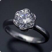 1カラット版:フラワーデザイン伏せこみタイプの婚約指輪