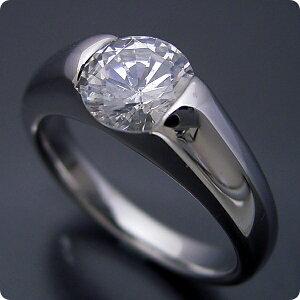 1万円 婚約指輪 1カラット プロポーズ用リング 告白用 サプライズ用 エンゲージリング 一粒 ブライダルジュエリー シルバー キュービックジルコニア 甲丸リングにダイヤモンドを埋め込んだ