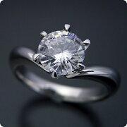 1カラット版:6本爪Vラインデザインの婚約指輪