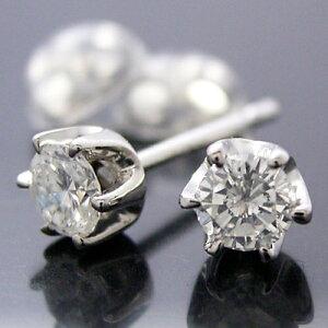 ティファニータイプ6本爪スタッドピアス・プラチナ・ダイヤモンド合計0.40カラット