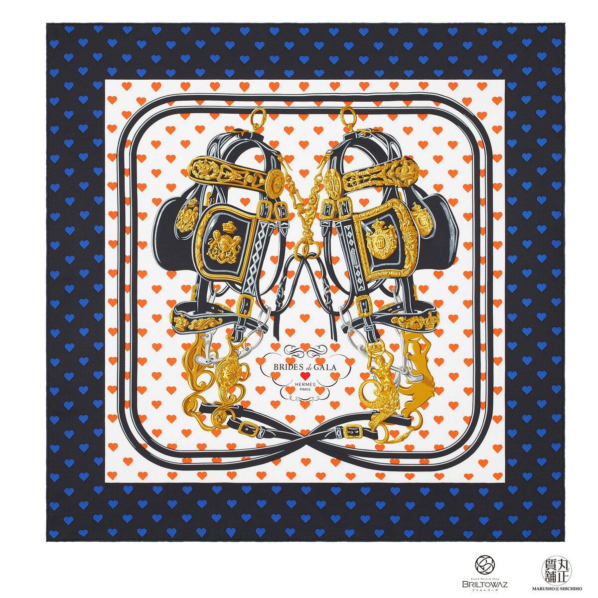 【送料無料】【あす楽】エルメス カレ45 シルクスカーフ 2017年秋冬 BRIDES DE GALA LOVE 黒/白/オレンジ ブリッド・ドゥ・ガラ・ラヴ HERMES ハート プチカレ【新品】【未使用】【代引 無料】【ブリルトワーゼ】【丸正質舗】【質屋】(M206618)