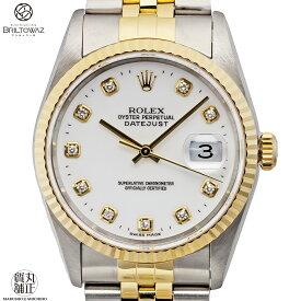 【送料無料】【あす楽】ROLEX メンズ 腕時計 デイトジャスト Ref16233G U番 SS+YG コンビ 10ポイントダイヤ 白文字盤 DATEJUST ロレックス USED【中古】【代引 無料】【ブリルトワーゼ】【丸正質舗】【質屋】(M208256)