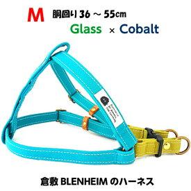 グラス×コバルト色 BLENHEIMのハーネス※丈夫なダブルリング犬用胴輪Mサイズ/幅15mm胴回り35〜55cm