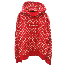 SUPREME(シュプリーム)LOUIS VUITTON ルイヴィトン 17AW LV Box Logo Hooded Sweatshirt ボックスロゴプルオーバーパーカー【中古】【程度A】【カラーレッド】【オンライン限定商品】
