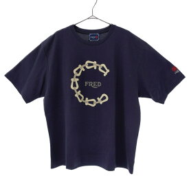 FRED(フレッド)×CLOT ロゴプリントTシャツ クロット ネイビー【中古】【程度A】【カラーネイビー】【オンライン限定商品】
