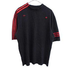adidas(アディダス)×フォートゥーフォー 424 スリーブライン ロゴ刺繍 クルーネック半袖Tシャツ ブラック【中古】【程度A】【カラーブラック】【オンライン限定商品】