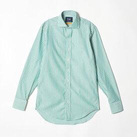 【SALE/セール】【DRAKE'S/ドレイクス】ロンドンストライプコットンシャツ(カッタウェイ)(メンズ コットン ストライプ スプレッドカラー シャツ イギリス製)