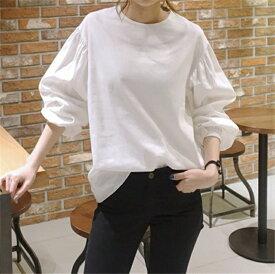 送料無料 ブラウス レディース tシャツ 長袖tシャツ パフスリーブ バルーンスリーブ 長袖 ロンT ロンティー チュニック オフィス 通勤 ゆったり 新作 ホワイト S M L XL